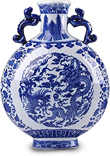 Dahlia Chinese Dragon Motif Blue and White Porcelain Flower Vase, 12-Inch, Binaural Vase #8