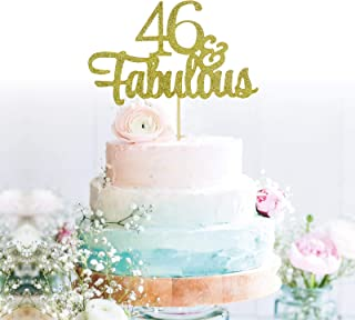 GrantParty Glitter Gold 46&Fabulous Anniversary Cake Topper We Still Do 46th Vow Renewal Wedding Anniversary Cake Topper(46 Gold)