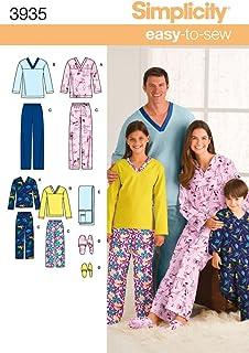 Simplicity Sewing Pattern 3935 Miss/Men/Child Sleepwear, A (XS-L/XS-XL)