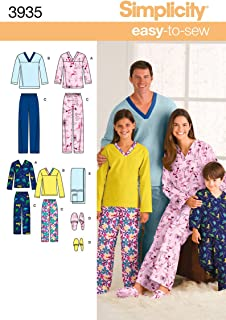 Simplicity Easy To Sew Children's, Men's and Women's Pajamas Sewing Pattern, Child Sizes XS-L and Adult Sizes XS-XL