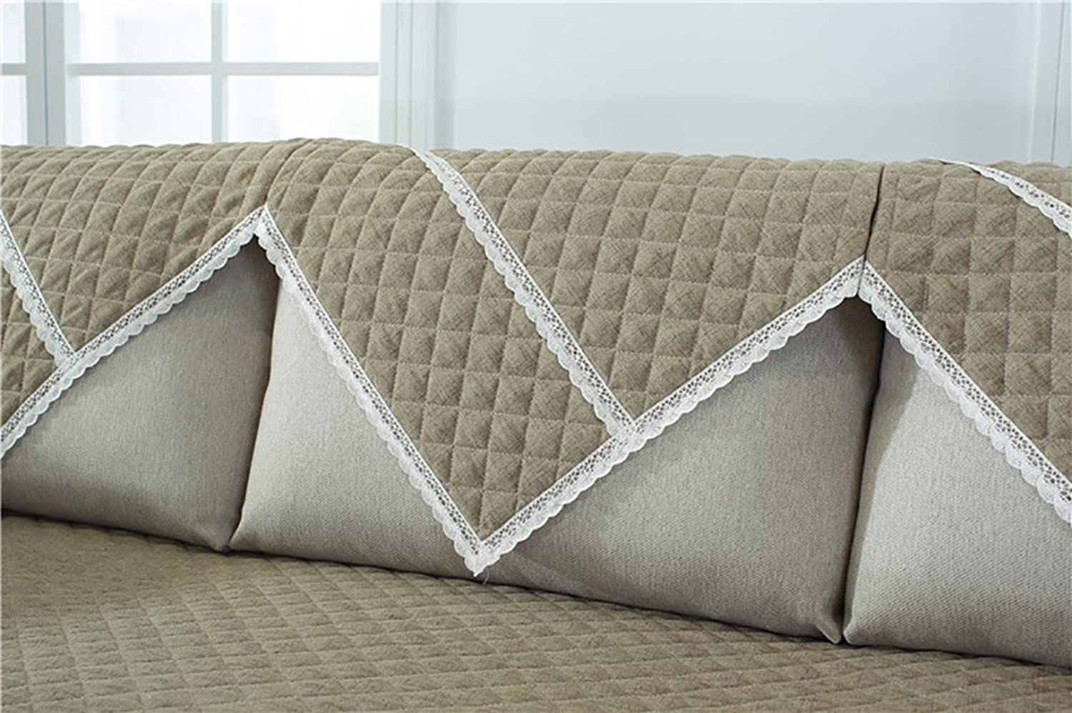 Sofa Covers Slipcovers Quilted Furniture Predector Anti-Slip Sofa Cover Perfect for Kids, Dogs, Cats, Pets, Sofa, and Couch,Khaki,90×180