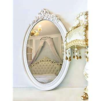 "Basswood Hunters 25""x 16"" Large Oval Vintage Decorative Wall Mirror, White Wooden Crown Frame, Antique Princess Decor for Bedroom,Playroom,Dressers,Living Room"