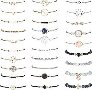sailimue 29 Piece Layered Bracelets Set for Women Adjustable Beaded Pendent Stack Links Friendship Bracelet Assorted Stack...