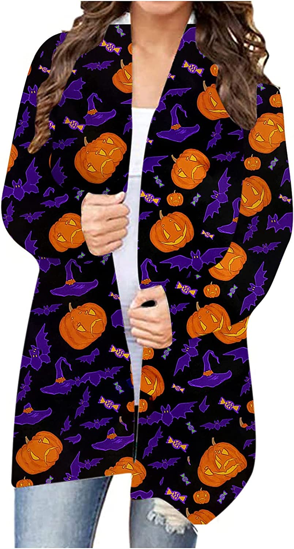 Womens Pumpkin Cardigan - Plus Size Open Front Loose Fit Mid Length Cardigan Halloween Animal Print Midi Kimono Sweater