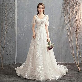 Elegant enkelhet kvinnors vita A-linje bröllopsklänningar damer enkla V-ringade tredimensionella avskurna axlar släpande b...