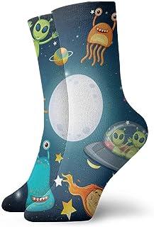 Extraterrestres en OVNI en el espacio exterior Hombres Mujeres Calcetines cortos Calcetines clásicos de algodón de 30 cm para yoga Senderismo Ciclismo Correr Fútbol Deportes