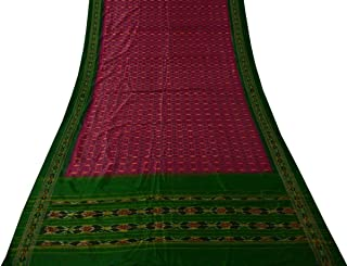 Vintage Indian Saree 100% Pure Silk Hand Woven Ikat Patola Sari Fabric Magenta