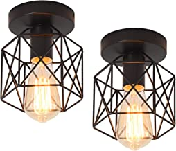 Qcyuui Semi-Flush Mount Ceiling Light Fixture, E27 Retro Black Metal Industrial Ceiling Lamp for Hallway, Stairway, Dining...