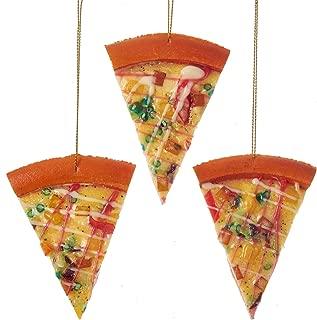 Kurt Adler Slices of Pizza Christmas Holiday Ornaments Set of 3