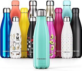 Proworks Botella de Agua Deportiva de Acero Inoxidable | Cantimplora Termo con Doble Aislamiento para 12 Horas de Bebida Caliente y 24 Horas de Bebida Fría - Libre BPA - 350ml / 500ml / 750ml / 1L