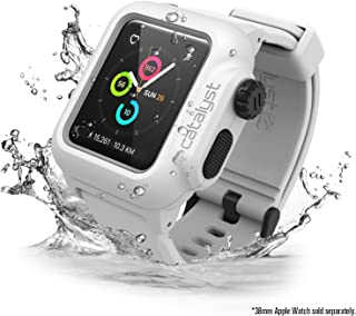 Waterproof Apple Watch Case 38mm Series 2 with Premium Soft Silicone Apple Watch Band by Catalyst, Shock Proof Impact Protection, Alpine White