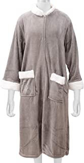 Shop LC Delivering Joy Gray Cozy Soft Long Flannel Robe with Zipper and Sherpa at Collar 3XL 100% Polyester