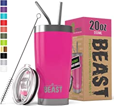 Greens Steel Beast 20oz Tumbler Insulated Stainless Steel Coffee Cup with Lid, 2 Straws, Brush & Gift Box (20 oz, Cup Cake Pink)