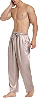 Lavenderi Mens Satin Pajama Pants, Long Pajama Bottoms with Drawstring