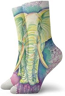 Kevin-Shop, Elefante Salvajes para Colorear Personalidad de Hombres y Mujeres Calcetines Cortos Estampados Divertidos Calcetines Casuales Calcetines de Equipo