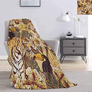 Luoiaax Tiger Faux Fleece Throw Blanket Tropical Animals Symbol of Bengal and Toucan Harmonious Nature Comfortable Soft Warm Large Blanket W70 x L70 Inch Earth Yellow Brown Dark Blue