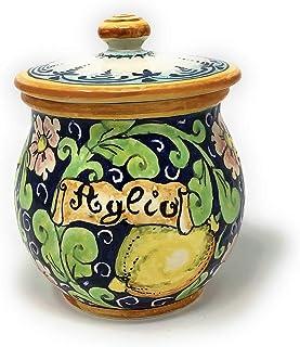 CERAMICHE D'ARTE PARRINI- Ceramica italiana artistica, barattolo aglio decorazione limoni, dipinto a mano, made in ITALY T...