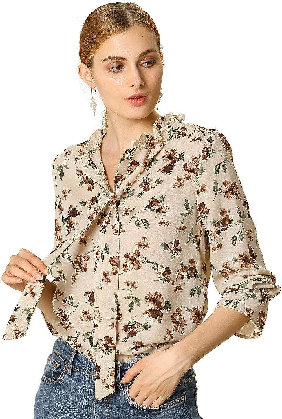 Allegra K Women's Bow Tie Ruffle Collar Button Down Long Sleeve Chiffon Vintage Floral Blouse