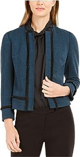 ANNE KLEIN Womens Black Herringbone Blazer Wear To Work Jacket AU Size:18