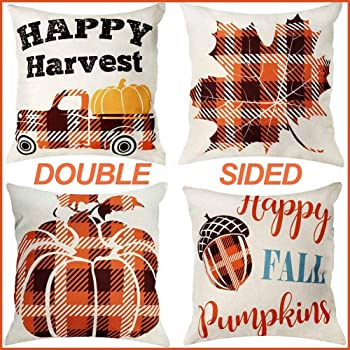 OurWarm Fall Pillow Covers 18×18 Inch for Fall Thanksgiving Decor Set of 4 Autumn Thanksgiving Farmhouse Buffalo Plaid Throw Pillow Covers for Sofa Couch Decor