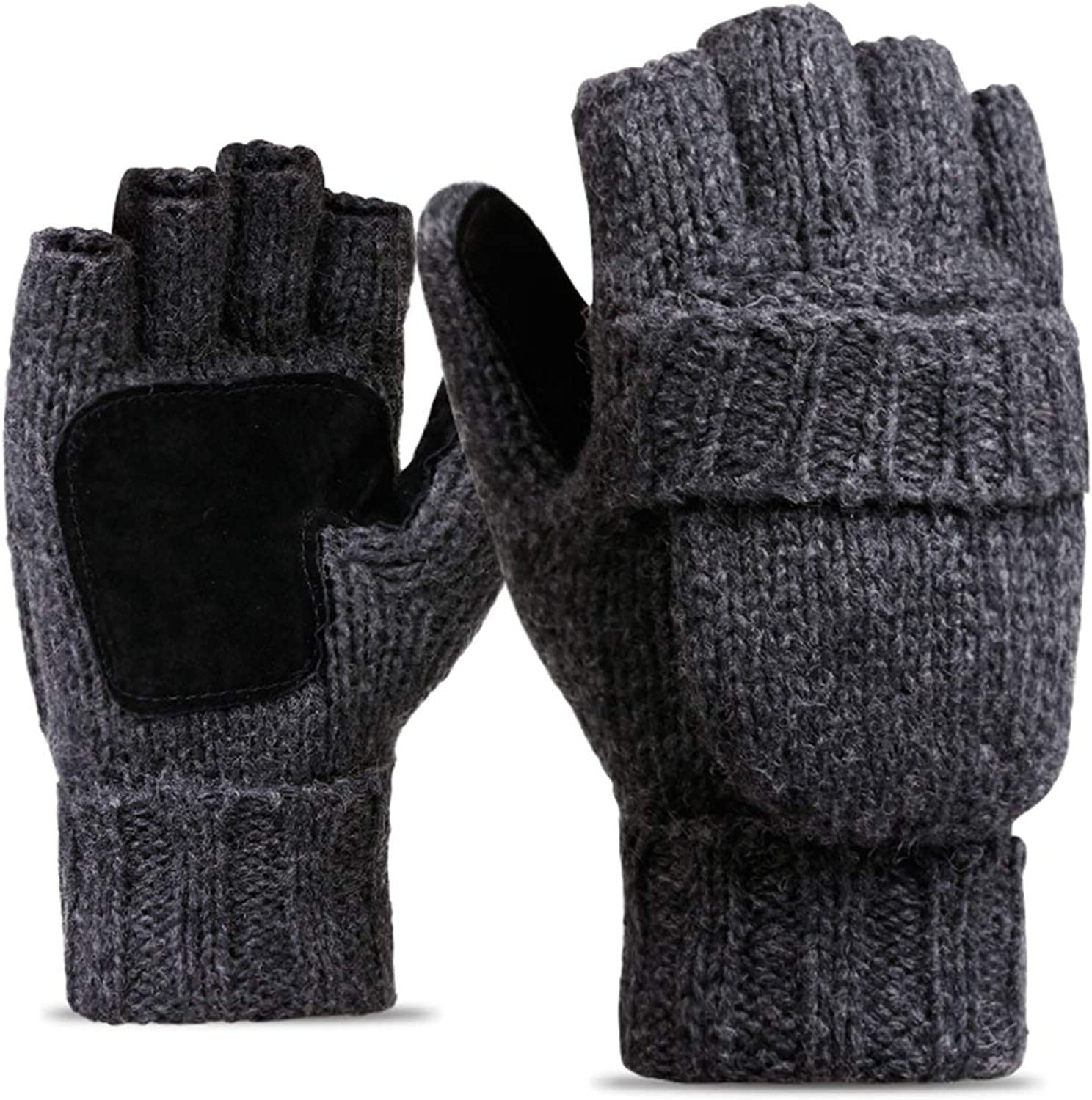Golovejoy Wool Knit New popularity Gloves Fingerless Wi Warm Over item handling Convertible