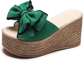 Wedges Shoes for Women Sandals Summer Open Toe Bowknot Breathable Beach Slip-On Casual