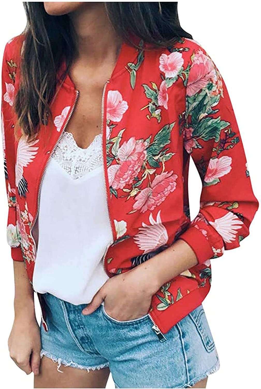Womens's Casual Jackets Lightweight Hooded Windbreaker Print Zipper Sweatshirts Jacket Coat Top