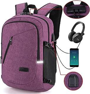 Mochila para portátil, Bloqueo Mochila portátil Delgada con Puerto de Carga USB y Puerto para audífonos,para portátil y Tableta iPad de hasta 15.6 Pulgadas