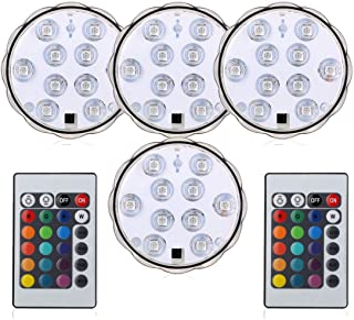 BigFox LED潜水ライト 水中LEDライト 10電球 リモコン付き 配線不要 防水 花瓶 水槽照明 水族館照明 イルミネーションおしゃれ(ライト4個 リモコン2個 )