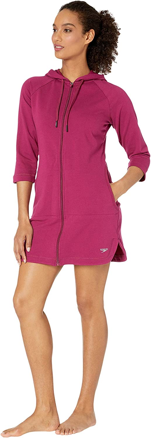 with Full Front Zip Speedo Womens Hooded Aquatic Fitness Robe and Cover-Up