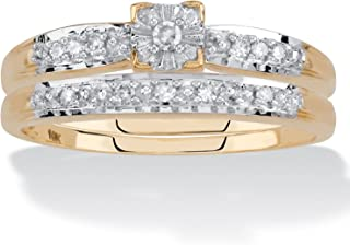 10K Yellow Gold Round Genuine Diamond 2 Pair Bridal Ring Set (1/8 cttw, I Color, I3 Clarity)