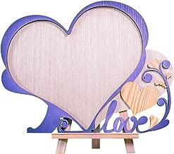 Creawoo Heart Shaped Wooden Wedding Guest Book Framed Alternative Unique Heart Drop Box Design - Wedding Wood Guest Book Gift Idea (Frame Only)