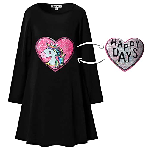 07c1fa73f Girls Sequin Unicorn Flip Dresses Reversible Cotton Long Sleeve