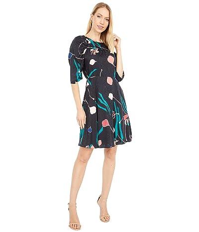 Rebecca Taylor 3/4 Sleeve Bloom Dress (Black Combo) Women