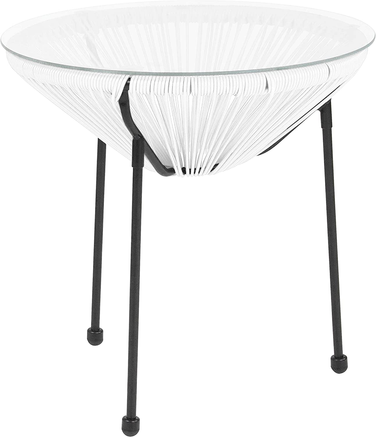 Flash Furniture Valencia Oval Comfort Series Take Ten White Rattan Table with Glass Top