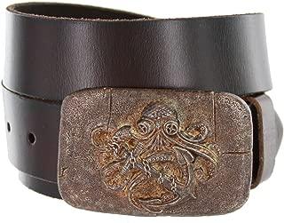 Ancient Kraken Plaque Buckle Design Men's Casual Jean Belt Cowhide Leather Strap