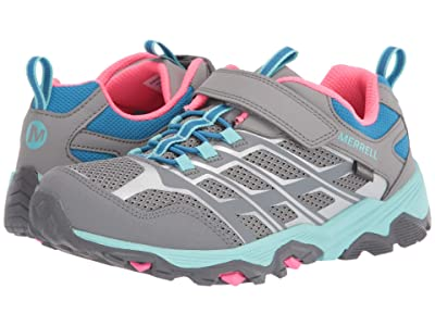 Merrell Kids Moab FST Low A/C Waterproof (Little Kid/Big Kid) (Grey/Turquoise/Pink) Girls Shoes