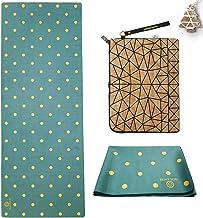 Golden® Travel Yogamat, 1,5 mm, Thuis, Wasbaar, Opvouwbare 2-in-1 Handdoek, Antislip Natuurlijk Rubber