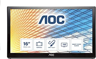 """AOC E1659FWU - e1659Fwu 15.6"""" 16:9 Black WLED 1366x768, TN 170/160 (CR10), 500:1, 5ms, USB x1, Tilt, USB, the perfect USB powered portable monitor accessory for laptop and computer."""