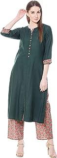 Harshana Women's Rayon Salwar Suit Set, Dark Green