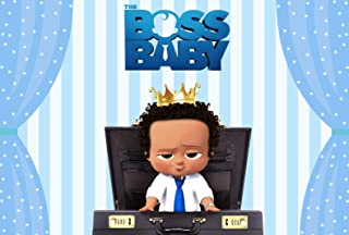ERIC 7x5ft Boss Baby Party Decor Backdrop Curly Hair Light Skinned African American Boy Blue Curtain Background Happy Birthday Baby Shower Banner Background 187