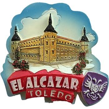 El Alcázar Toledo España Europa Ciudad Mundial Resina 3D Fuerte Imán de nevera Regalo turístico Imán chino Hecho a mano Artesanía Creativa Casa y Cocina Decoración Magnética Pegatina: Amazon.es: Hogar
