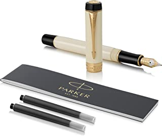 PARKER Duofold International Fountain Pen, Classic Ivory & Black, Fine Solid Gold Nib, Black Ink and Convertor (1931393)
