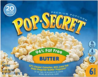 Pop Secret 94% Fat Free Butter Popcorn, 6 Count Boxes (Pack of 6)