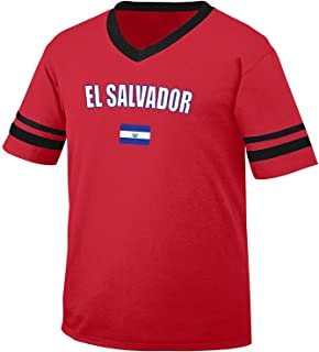 El Salvador Country Flag Men's Retro Soccer Ringer T-shirt, Amdesco