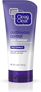 Clean & Clear Continuous Control Acne Facial Cleanser with Benzoyl Peroxide Acne Medication, Daily Acne Face Wash with Mineral Oil & Menthol for Acne Prone Skin, 5 oz.