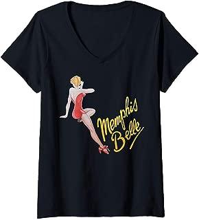 Womens Memphis Belle American Military Vintage Bomber Nose Art V-Neck T-Shirt