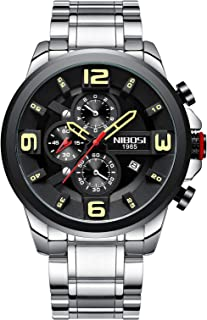 Men's Watches Chronograph Quartz Wristwatches for Men Stainless Steel Fashion Casual Calendar Date Dress Watch