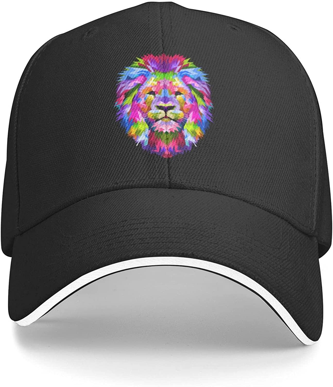 Colorful Rainbow Lion Flat Bill Hat Snapback Hats for Men Baseball Cap Trucker Hats Mens Adjustable Black