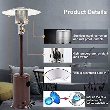 ZLGE Portable Patio Heater Gas Heater Outdoor Patio Heaters of Adjustable Height Propane Outdoor Patio Gas Heater for Outdoor